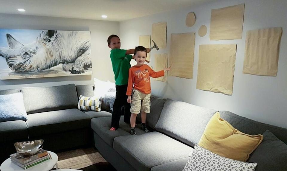 Paper templates laid out on walls. Image courtesy of Leigh-Ann Allaire.