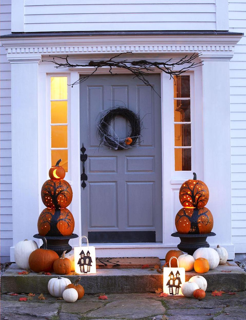 """<p>Illuminate your entryway with a set of adorable LED pumpkins that'll keep all eyes on your home this Halloween.</p><p><a class=""""link rapid-noclick-resp"""" href=""""https://go.redirectingat.com?id=74968X1596630&url=https%3A%2F%2Fwww.overstock.com%2FLighting-Ceiling-Fans%2FLED-Pumpkin-Light-Battery-Operated-Orange-1.75-Height-x-3-Diameter%2F31320659%2Fproduct.html&sref=https%3A%2F%2Fwww.goodhousekeeping.com%2Fholidays%2Fhalloween-ideas%2Fg32948621%2Fhalloween-door-decorations%2F"""" rel=""""nofollow noopener"""" target=""""_blank"""" data-ylk=""""slk:SHOP LED PUMPKINS"""">SHOP LED PUMPKINS</a></p>"""