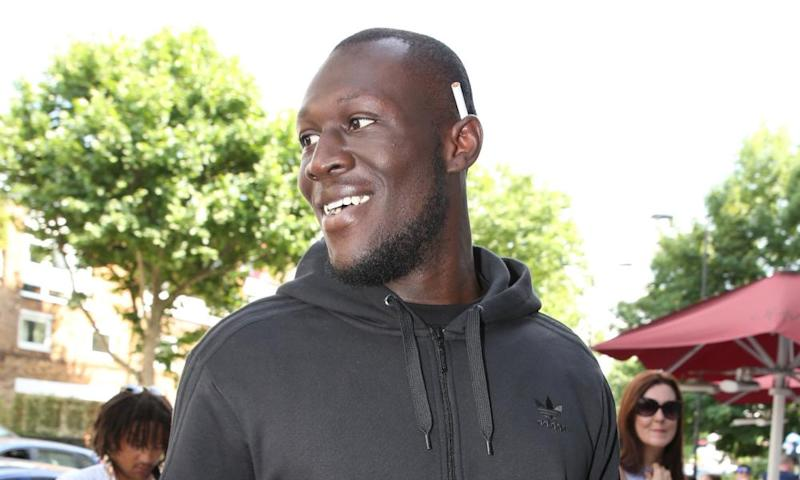 Stormzy arriving at a studio on Sunday to record the charity single.