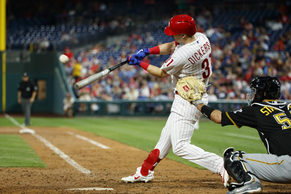 Philadelphia Phillies' Corey Dickerson hits a home run off Pittsburgh Pirates starting pitcher Mitch Keller during the fifth inning of a baseball game, Wednesday, Aug. 28, 2019, in Philadelphia. (AP Photo/Matt Slocum)