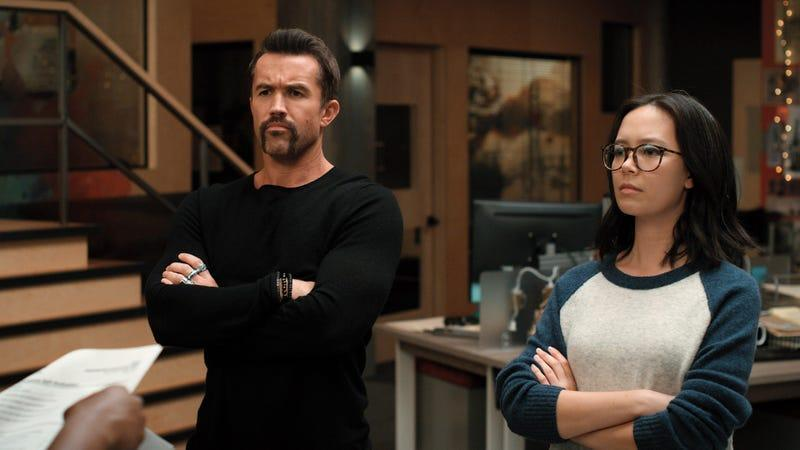 Rob McElhenney and Charlotte Nicdao in Mythic Quest season two