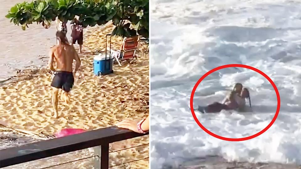 Mikey Wright (pictured left) running on the beach and (pictured right) helping save a woman at the beach.