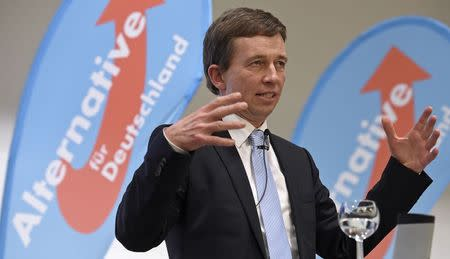 "Lucke, chairman of German anti-euro party ""The Alternative fuer Deutschland"" delivers his speech at an election campaign in Hamburg"