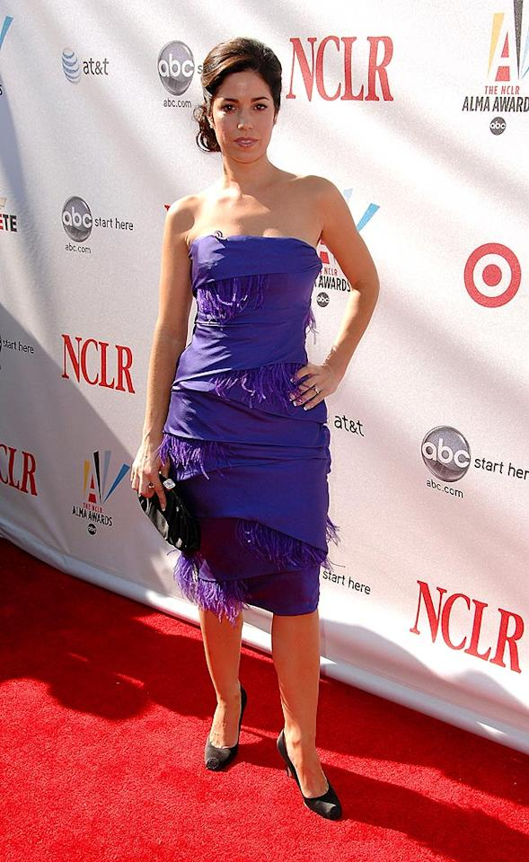 """Did """"Ugly Betty's"""" Ana Ortiz run her dress through a shredder? The purple fringe is horrifying. Greg DeGuire/<a href=""""http://www.wireimage.com"""" target=""""new"""">WireImage.com</a> - August 17, 2008"""