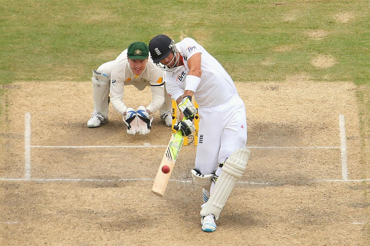 ADELAIDE, AUSTRALIA - DECEMBER 08:  Kevin Pietersen of England bats during day four of the Second Ashes Test Match between Australia and England at Adelaide Oval on December 8, 2013 in Adelaide, Australia.  (Photo by Quinn Rooney/Getty Images)