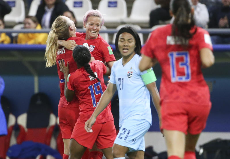 Megan Rapinoe celebrates a goal with teammates during the U.S. team's win over Thailand at the 2019 FIFA Women's World Cup. (Getty)