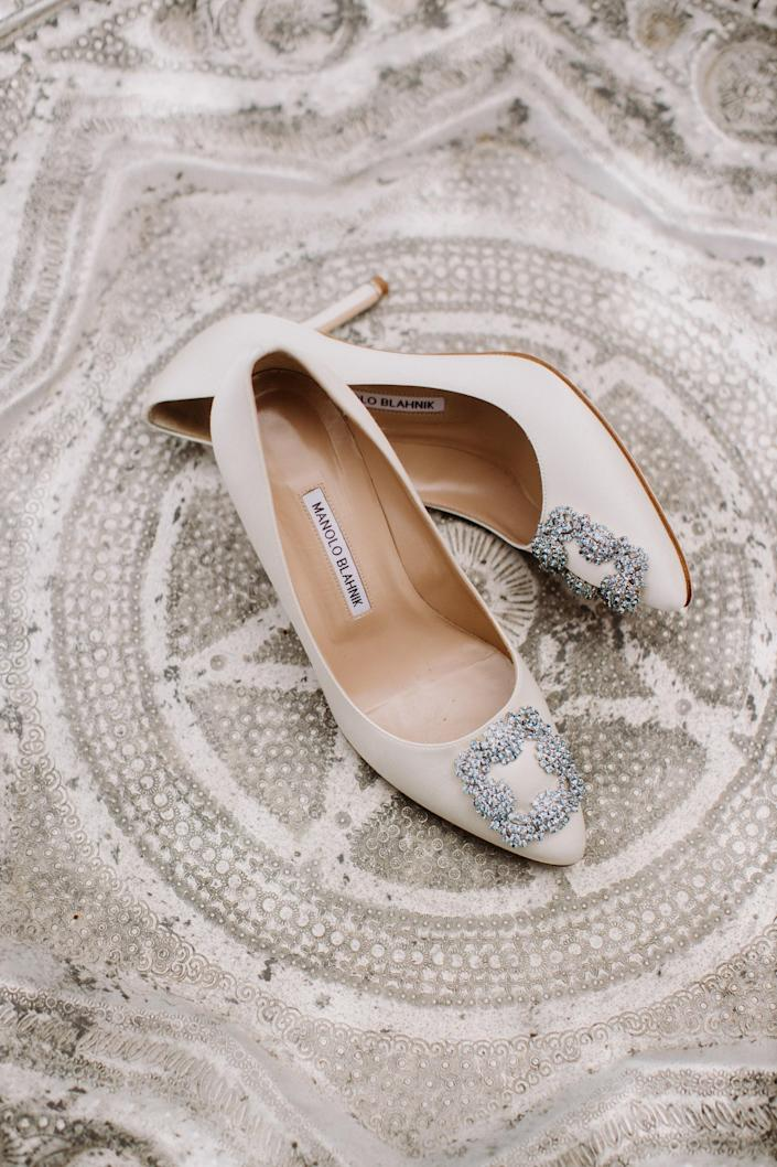 No lie, I knew I would wear these Manolo Blahniks ever since I saw Carrie Bradshaw wear the blue ones in <em>Sex in the City</em>. They are truly <em>the</em> bridal shoes.