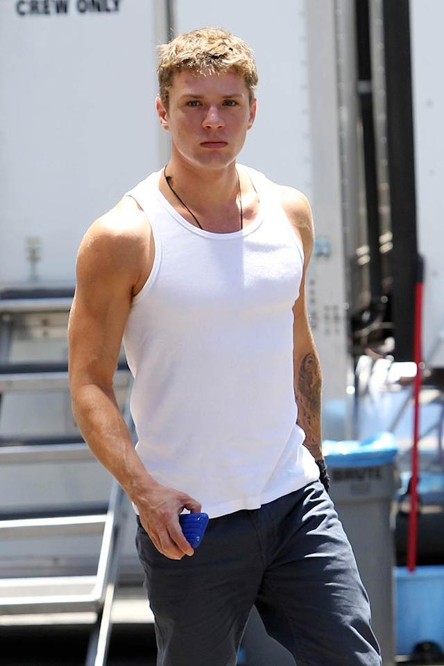 """McConaughey's buff """"Lincoln Lawyer"""" co-star, Ryan Phillippe, was snapped on set while filming the flick about a lawyer who conducts business from the back of his Lincoln Town Car. Although Phillippe has been romantically linked to Amanda Seyfried recently, the actor told Ellen DeGeneres that he is dating, but """"not nearly as voracious as the magazines like to make out."""" As for what he looks for in the opposite sex, the 36-year-old said, """"I like a strong woman. I like individuality. I like a woman who's self possessed. Who knows who she is. Who knows what she wants."""" Clint Brewer/<a href=""""http://www.splashnewsonline.com/"""" target=""""new"""">Splash News</a> - July 14, 2010"""