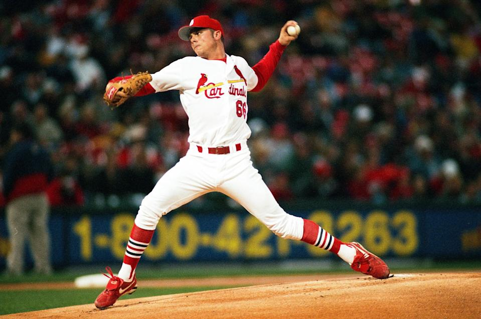 Just a few starts into what appeared, at the time, to be a promising big league career as a starting pitcher, Rick Ankiel started hitting homers as a batter. (Photo by Sporting News via Getty Images via Getty Images)