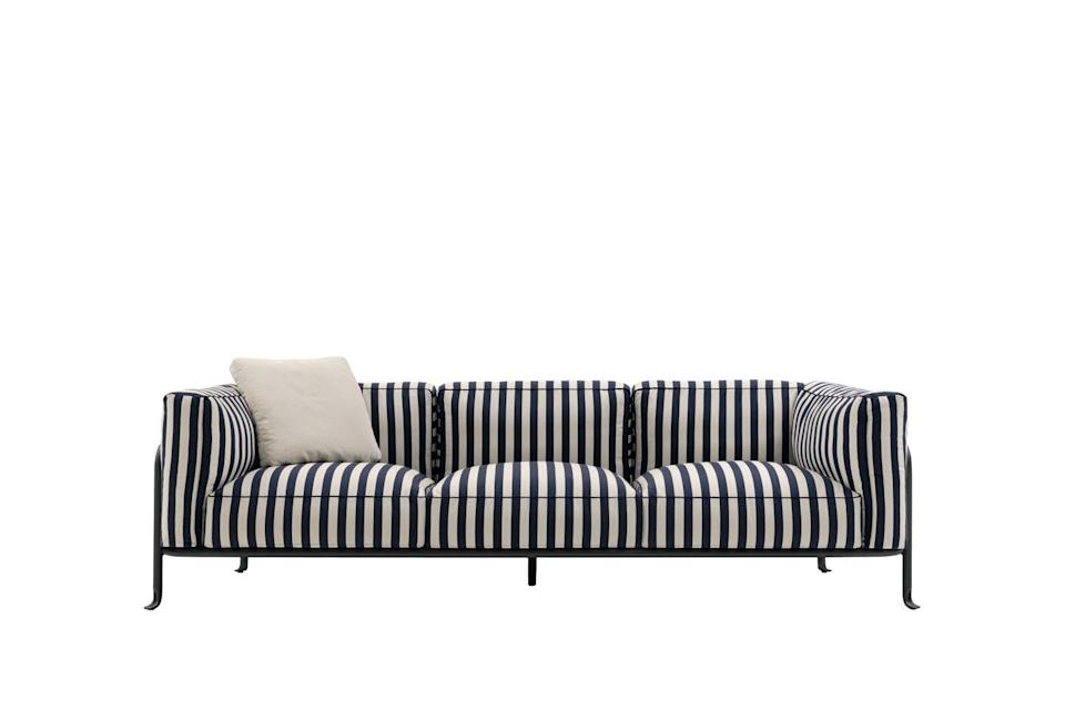 """<p>Piero Lissoni's 'Borea' outdoor sofa for B&B Italia, with its elegant black tubular frame, flicked out legs and maritime-inspired fabrics, has a distinctly 1990s flavour. The big interiors trend from last year is heading outside. From £6,220, <a href=""""https://www.bebitalia.com/en/stories/news/borea-2021-outdoor-collection"""" rel=""""nofollow noopener"""" target=""""_blank"""" data-ylk=""""slk:B&B Italia"""" class=""""link rapid-noclick-resp"""">B&B Italia</a></p>"""