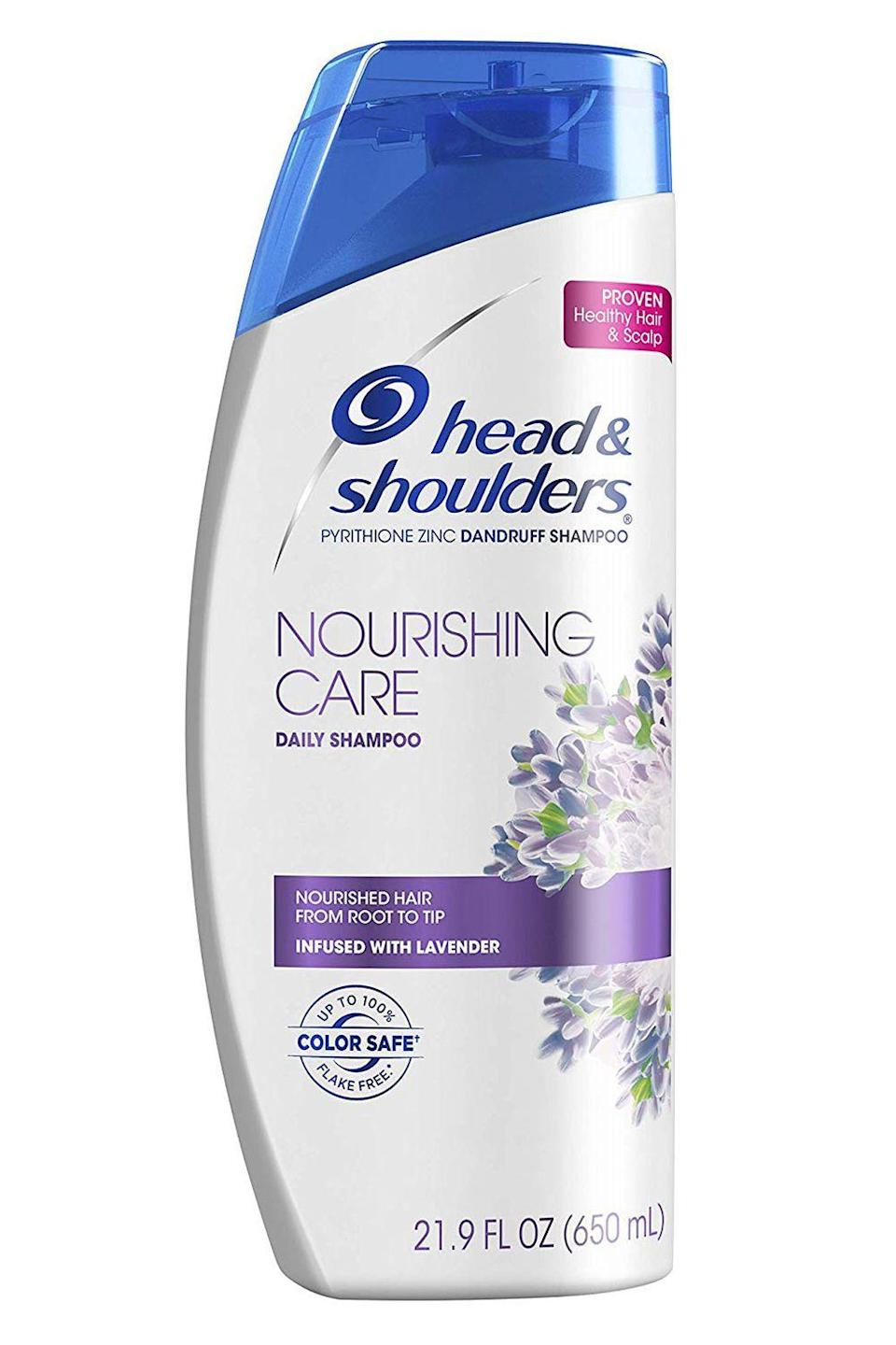 """<p><strong>Head&Shoulder</strong></p><p>amazon.com</p><p><strong>$11.24</strong></p><p><a href=""""https://www.amazon.com/dp/B07LFKRS5K?tag=syn-yahoo-20&ascsubtag=%5Bartid%7C10049.g.20874938%5Bsrc%7Cyahoo-us"""" rel=""""nofollow noopener"""" target=""""_blank"""" data-ylk=""""slk:Shop Now"""" class=""""link rapid-noclick-resp"""">Shop Now</a></p><p>Annoyingly, most <a href=""""https://www.cosmopolitan.com/style-beauty/beauty/g27812780/best-anti-dandruff-shampoo/"""" rel=""""nofollow noopener"""" target=""""_blank"""" data-ylk=""""slk:dandruff shampoos"""" class=""""link rapid-noclick-resp"""">dandruff shampoos</a> leave your hair feeling brittle and straw-like. But this one from Head & Shoulders does the opposite. It has pyrithione zinc to effectively get rid of flakes on your scalp PLUS <strong>nourishing lavender extract to moisturize and smooth damaged hair.</strong> </p>"""