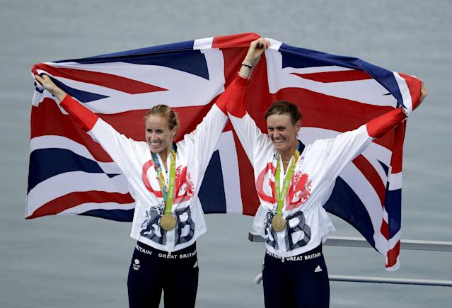 <p>Helen Glover and Heather Stanning, of Britain, celebrate their gold in the women's rowing pair final during the 2016 Summer Olympics in Rio de Janeiro, Brazil, Friday, Aug. 12, 2016. (AP) </p>