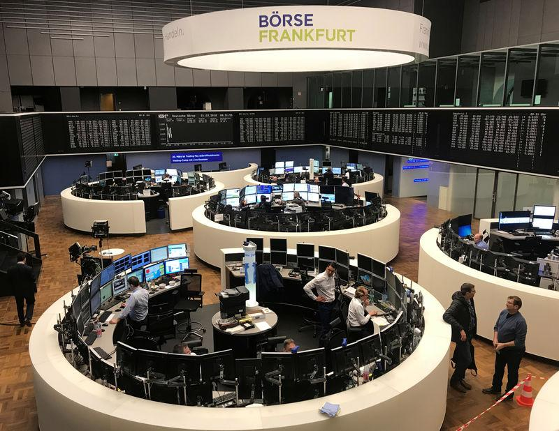 FILE PHOTO: The German share price index, DAX board, is seen at the stock exchange in Frankfurt