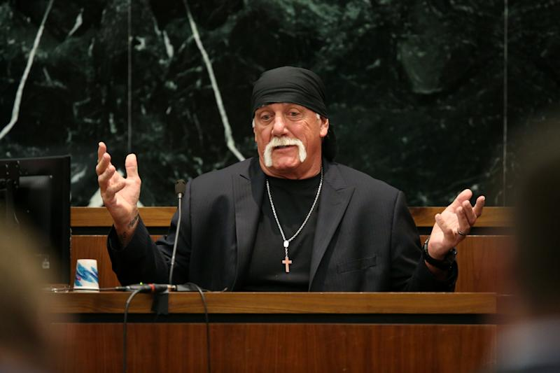 Terry Bollea, aka Hulk Hogan, sued Gawker.com for publishing a sex tape he was in. He won the suit, leading to the site's sale and closure. (Pool / Getty Images)