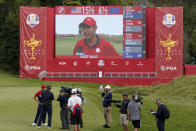Team USA's Collin Morikawa is interviewed during a Ryder Cup singles match at the Whistling Straits Golf Course Sunday, Sept. 26, 2021, in Sheboygan, Wis. (AP Photo/Ashley Landis)