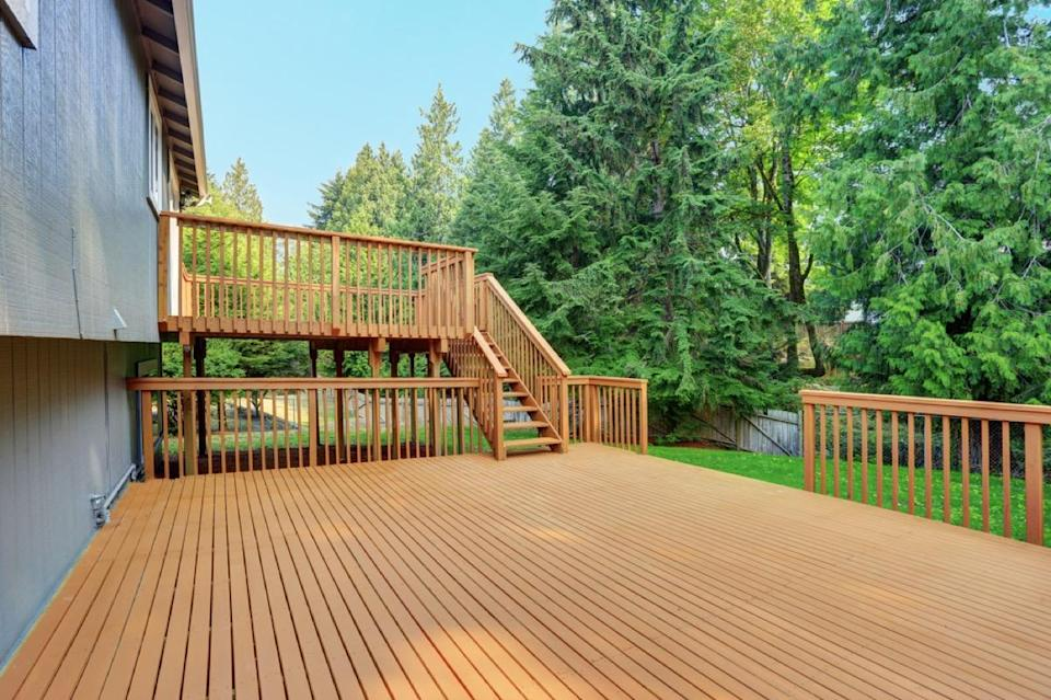 "If the area under your deck is as damp as a steam room, you may have serious—and costly—repairs ahead of you. <a href=""https://www.homeadvisor.com/r/deck-mold-and-mildew/"" rel=""nofollow noopener"" target=""_blank"" data-ylk=""slk:Moisture under your deck"" class=""link rapid-noclick-resp"">Moisture under your deck</a> can mean your house or decking has insufficient drainage or ventilation, which can lead to mold or rot over time."