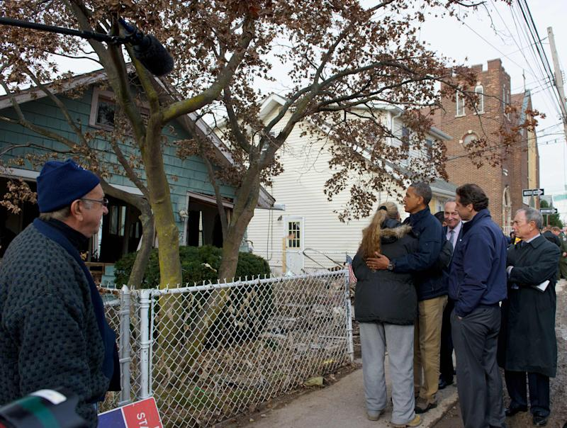 Barack Obama with Staten Island residents in 2012