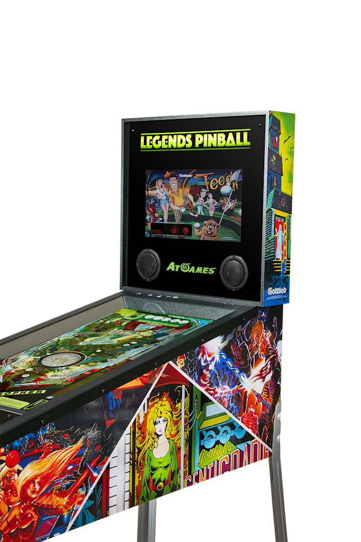 """If pinball is more your thing, Legends Pinball ($699) is billed as the """"world's first connected pinball"""" table, which allows for online multiplayer, where each player can both chat. The virtual pinball table houses 22 games, plus more can be added."""