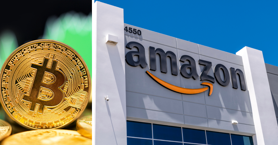 The representation of a Bitcoin with a green chart background and the exterior of an Amazon building.