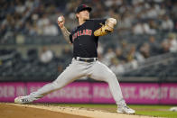 Cleveland Indians starting pitcher Zach Plesac throws during the first inning of the team's baseball game against the New York Yankees, Friday, Sept. 17, 2021, in New York. (AP Photo/John Minchillo)