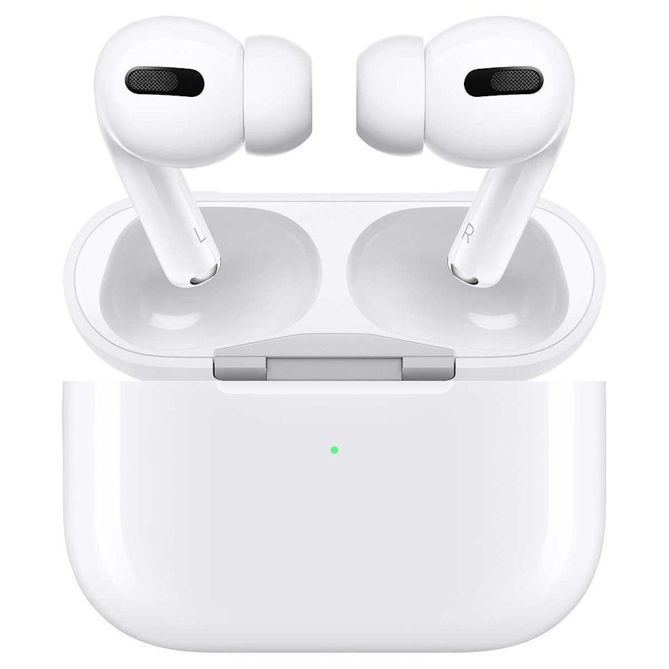 """<p><strong>Apple</strong></p><p>amazon.com</p><p><a href=""""https://www.amazon.com/dp/B07ZPC9QD4?tag=syn-yahoo-20&ascsubtag=%5Bartid%7C10056.g.36788447%5Bsrc%7Cyahoo-us"""" rel=""""nofollow noopener"""" target=""""_blank"""" data-ylk=""""slk:Shop Now"""" class=""""link rapid-noclick-resp"""">Shop Now</a></p><p><del>$249.00</del> $197.00 <strong>(21% off)</strong></p><p>In 2019, Apple revamped its AirPods and introduced these earbuds with a bunch of new features, including noise cancellation technology, a 24-hour battery life, and made them totally waterproof. </p>"""