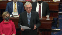 In this image from video, Senate Minority Leader Mitch McConnell of Ky., speaks before the Senate voted to award the Congressional Gold Medal to U.S. Capitol Police offer Eugene Goodman for his actions during the Jan. 6 riot, as the Senate took a break from the second impeachment trial of former President Donald Trump in the Senate at the U.S. Capitol in Washington, Friday, Feb. 12, 2021. (Senate Television via AP)