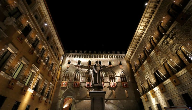 The Monte dei Paschi bank headquarters is pictured in Siena
