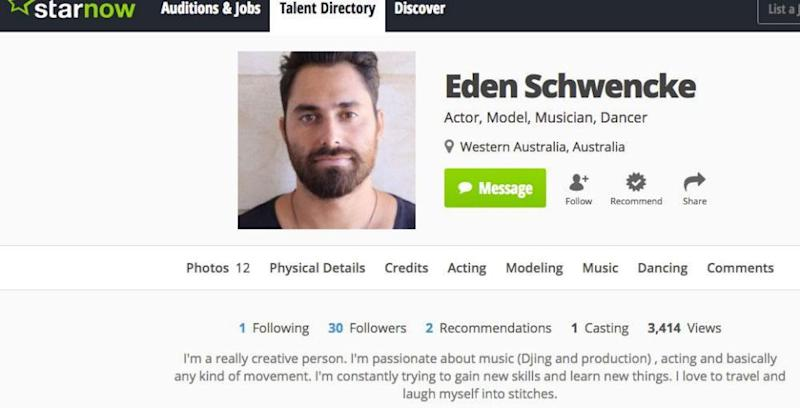 Modelling and acting can be added to Eden's lists of interests and talents, as his StarNow account reveals. Source:StarNow