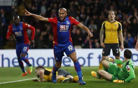Britain Football Soccer - Crystal Palace v Arsenal - Premier League - Selhurst Park - 10/4/17 Crystal Palace's Andros Townsend celebrates scoring their first goal Reuters / Stefan Wermuth Livepic