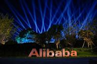 FILE PHOTO: The logo of Alibaba Group is seen during Alibaba Group's 11.11 Singles' Day global shopping festival at the company's headquarters in Hangzhou