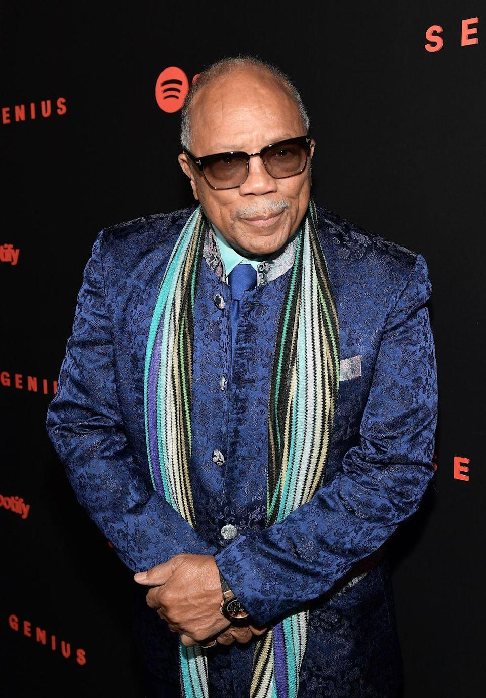 """<p>In the early '50s, aspiring musician Quincy Jones earned a place at Schillinger House (now Berklee College of Music) and <a href=""""https://www.nytimes.com/1997/11/23/nyregion/black-fraternity-makes-helping-a-priority.html"""" rel=""""nofollow noopener"""" target=""""_blank"""" data-ylk=""""slk:joined the Alpha Phi Alpha fraternity"""" class=""""link rapid-noclick-resp"""">joined the Alpha Phi Alpha fraternity</a>. But he <a href=""""https://www.britannica.com/biography/Quincy-Jones"""" rel=""""nofollow noopener"""" target=""""_blank"""" data-ylk=""""slk:dropped out soon after to tour with Lionel Hampton"""" class=""""link rapid-noclick-resp"""">dropped out soon after to tour with Lionel Hampton</a>. The risky move proved successful and kick started his career. </p>"""