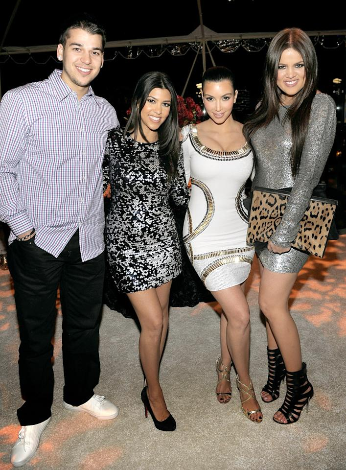 (L-R) TV personalities Rob Kardashian, Kourtney Kardashian, Kim Kardashian and Khloe Kardashian attend the E! 20th anniversary party celebrating two decades of pop culture with Ciroc Ultra Premium Vodka held at The London Hotel on May 24, 2010 in West Hollywood, California.
