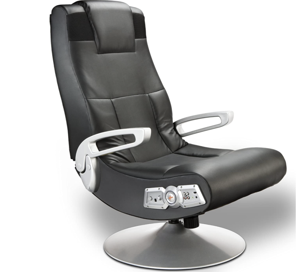 X Rocker SE 2.1 Black Leather Video Gaming Chair for Gamers with Pedestal Base, Armrest, and Headrest, S$334.13. PHOTO: Amazon