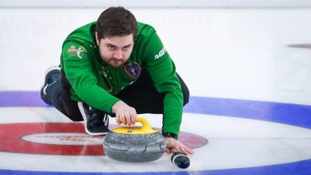 Skip Matt Dunstone outscored Jason Gunnlaugson 7-1 in the final eight ends to win 7-3 on Friday at a qualifier for the national Olympic curling trials in Ottawa. (Jeff McIntosh/The Canadian Press/File - image credit)