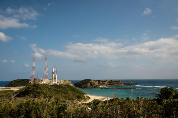 A Japanese H-2A rocket carrying the NASA-Japan Aerospace Exploration Agency (JAXA), Global Precipitation Measurement (GPM) Core Observatory is seen as it rolls out to launch pad 1 of the Tanegashima Space Center, Thursday, Feb. 27, 2014,