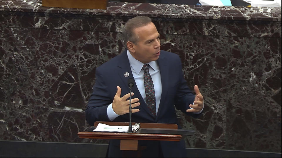 In this image from video, House impeachment manager Rep. David Cicilline, D-R.I., speaks during the second impeachment trial of former President Donald Trump in the Senate at the U.S. Capitol in Washington, Thursday, Feb. 11, 2021. (Senate Television via AP)