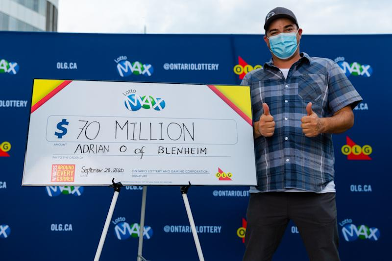 $70 million Lotto Max winner, Adrian Olmstead from Blenheim, Ont. (OLG)