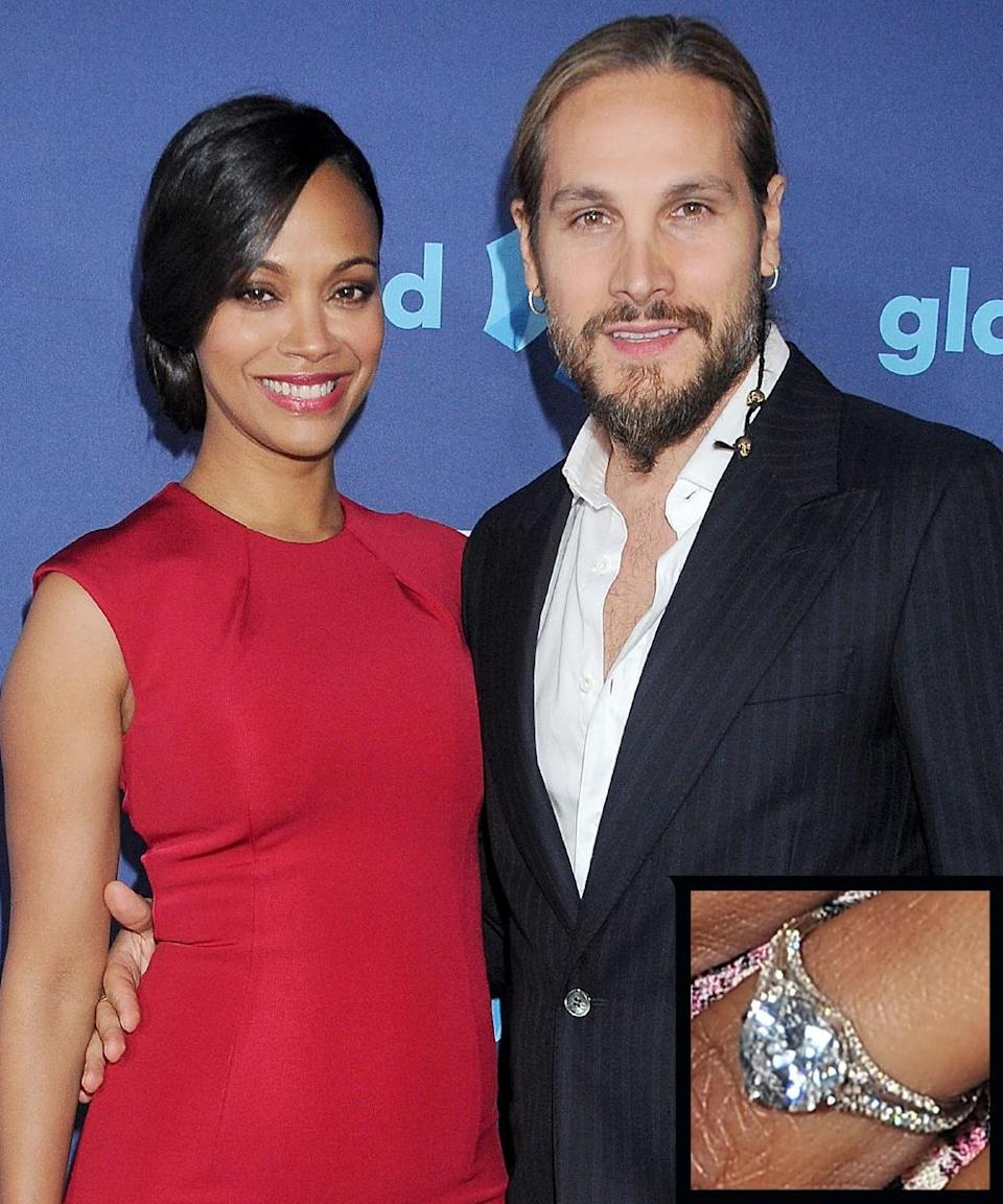 <p>The actress married Italian artist Marco Perego in 2013. Her pear-shaped emerald ring is estimated to be about six to eight carats.</p>