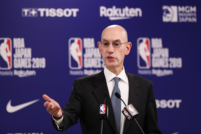 SAITAMA, JAPAN - OCTOBER 08: Commissioner of the National Basketball Association (NBA) Adam Silver speaks during a press conference prior to the preseason game between Houston Rockets and Toronto Raptors at Saitama Super Arena on October 08, 2019 in Saitama, Japan. (Photo by Takashi Aoyama/Getty Images)