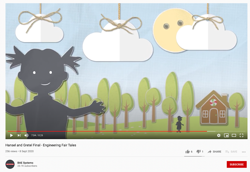 The online fairy tales are aimed at young childrenBAE Systems/YouTube