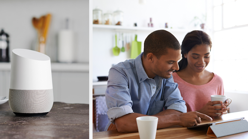 Pictured: A Google Home device and attractive young couple in their kitchen. Google has confirmed its staff listen to some Google Home recordings.Images: Getty