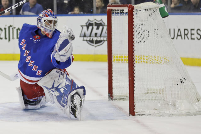New York Rangers goaltender Henrik Lundqvist watches as the puck gets past him during the first period of the NHL hockey game against the Philadelphia Flyers, Sunday, March 1, 2020, in New York. (AP Photo/Seth Wenig)
