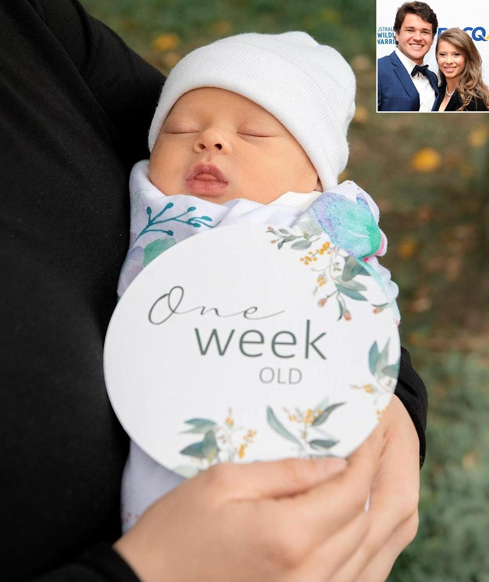 """<p>When Grace turned 1 week old, Bindi <a href=""""https://www.instagram.com/p/CNHgMxvhxVj/"""" rel=""""nofollow noopener"""" target=""""_blank"""" data-ylk=""""slk:posted a series of sweet photos"""" class=""""link rapid-noclick-resp"""">posted a series of sweet photos</a> of the newborn writing, """"This week has been filled with sweet snuggles and infinite love."""" </p>"""