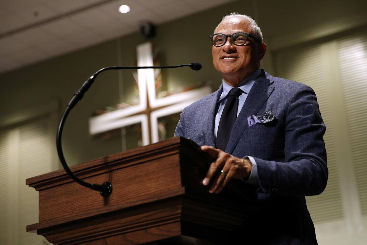 Senate candidate Mike Espy at a voting rally at New Horizon Church in Jackson, Miss. (Photo: Jonathan Bachman/Reuters)