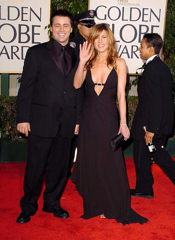 """Like Courteney Cox Arquette, Jennifer Aniston opted for a plunging neckline in 2004. Fortunately, Matt LeBlanc kept himself buttoned up. Steve Granitz/<a href=""""http://www.wireimage.com"""" target=""""new"""">WireImage.com</a> - January 25, 2004"""