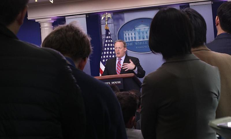 Sean Spicer was on the defensive after the Congressional Budget Office found 24 million people would lose coverage under the American Health Care Act.