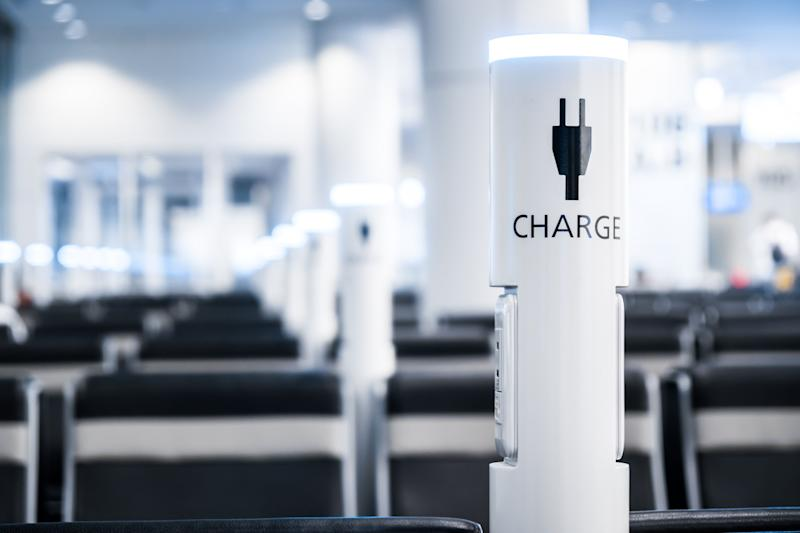 Charging points in an airport.