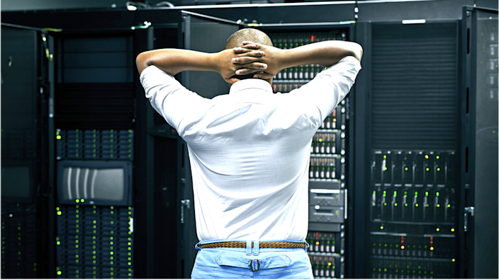 A man upset looking at the server