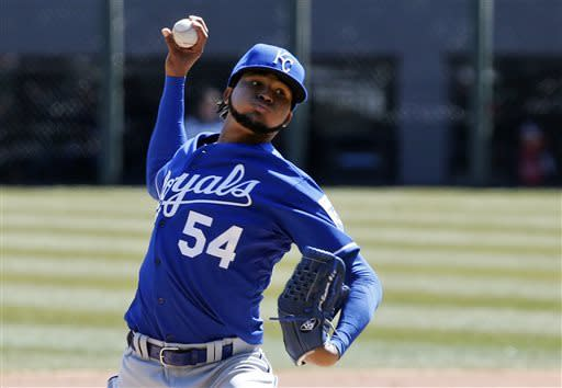 Kansas City Royals starting pitcher Ervin Santana delivers during the first inning of a baseball game against the Chicago White Sox, Wednesday, April 3, 2013, in Chicago. (AP Photo/Charles Rex Arbogast)