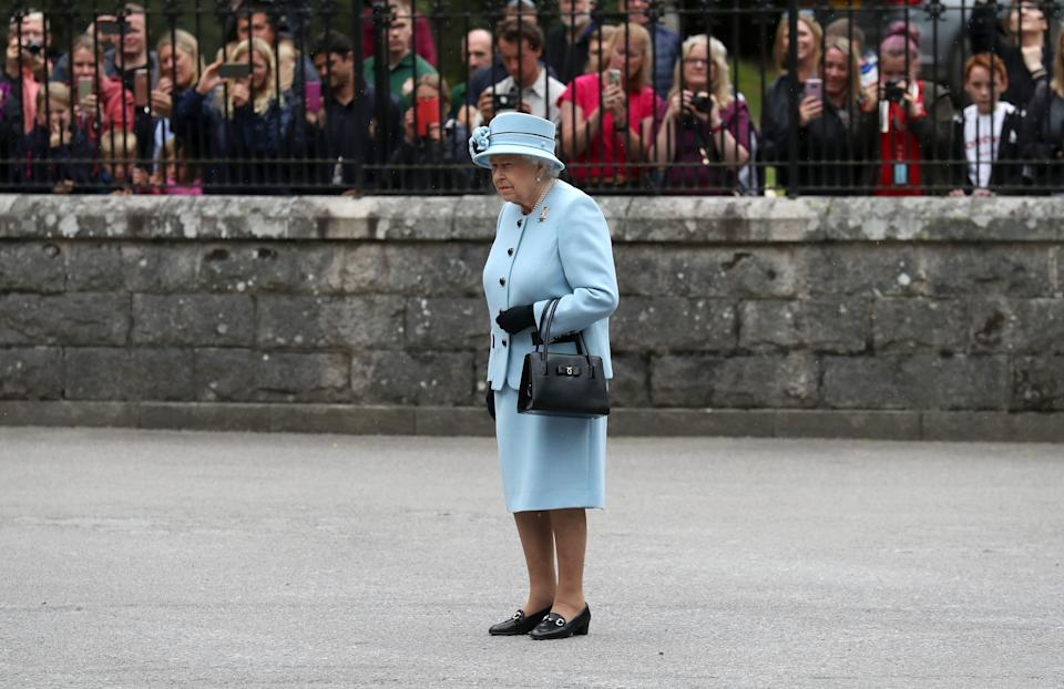Queen Elizabeth II during an inspection of the Balaklava Company, 5 Battalion The Royal Regiment of Scotland at the gates at Balmoral, as she takes up summer residence at the castle.